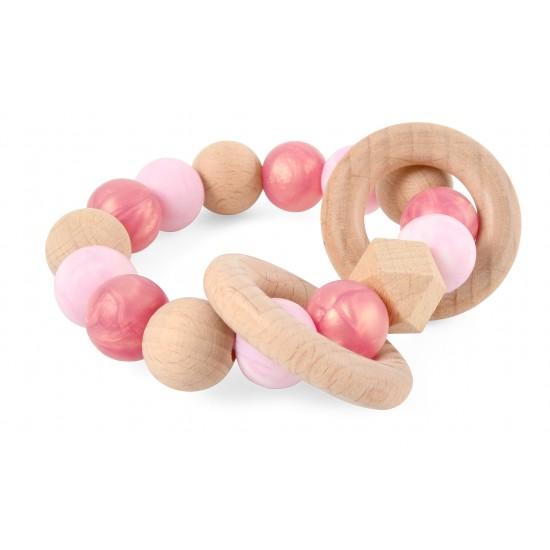 Hochet bois & silicone - rose gold nacré, rose marbré - Hochets & Anneaux de dentition par Magni